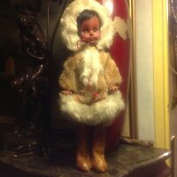 VINTAGE REGAL ESKIMO DOLL WITH BABY  WITH BACK BASKIT 1960'S