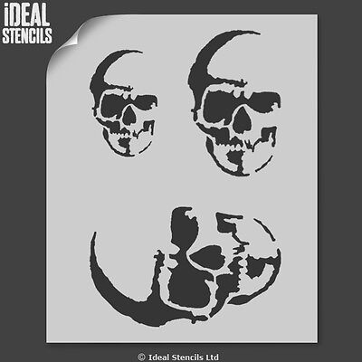 Halloween Skull Decoration Stencils Crafts Paint Reusable Window Display 4 - Halloween Skull Stencils