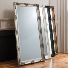 New Silver Ornate 5.5ft Abbey Leaner Mirror Half list price £99 while stocks last