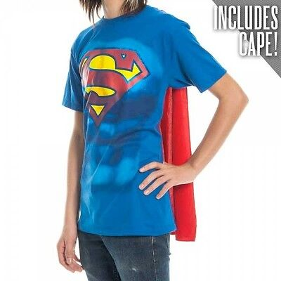 Funny Superman Costume (Official DC Comics ~ SUPERMAN T-SHIRT with Cape ~ Mens Funny Costume Suit)