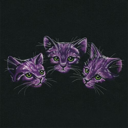 Moonlit Kitten Trio SWEATSHIRT EMBROIDERED Beautiful