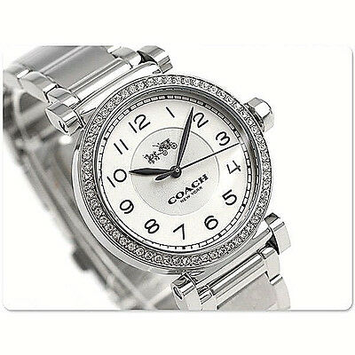 NWT Coach Women's Watch Silver SS Bracelet Swarovski 32mm. MADISON 14502396 $275