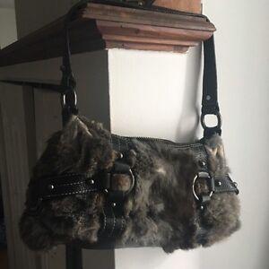 Furry purse, sacoche poil de lapin authentique fourrure et cuir