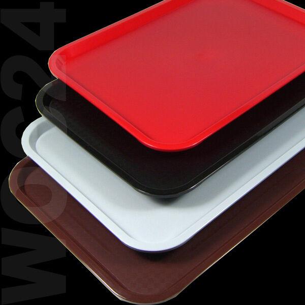 GASTRO Kunststoff Serviertablett Fastfood Kantine Tablett Rot Schwarz Grau Braun