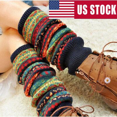 - Boho Winter Warm Leg Warmers Cable Knit Knitted Crochet High Long Socks Leggings