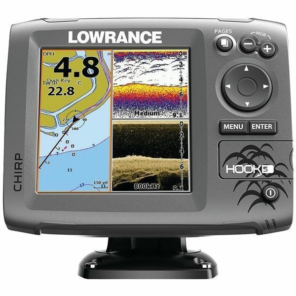 lowrance hook 5 downscan transducer gps plotter fishfinder | ebay, Fish Finder