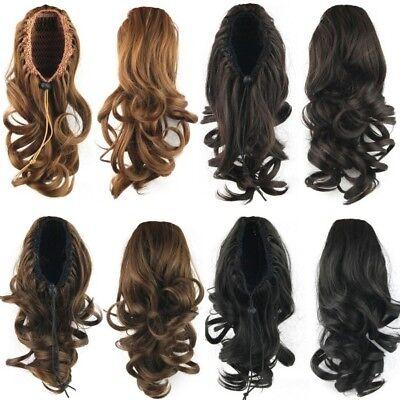 (US Women Ponytail Synthetic Hair Curly Medium Drawstring Ponytail Hair Extension)