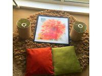 Large Round rug , 2 cushions, 2 lamp shades, canvas framed