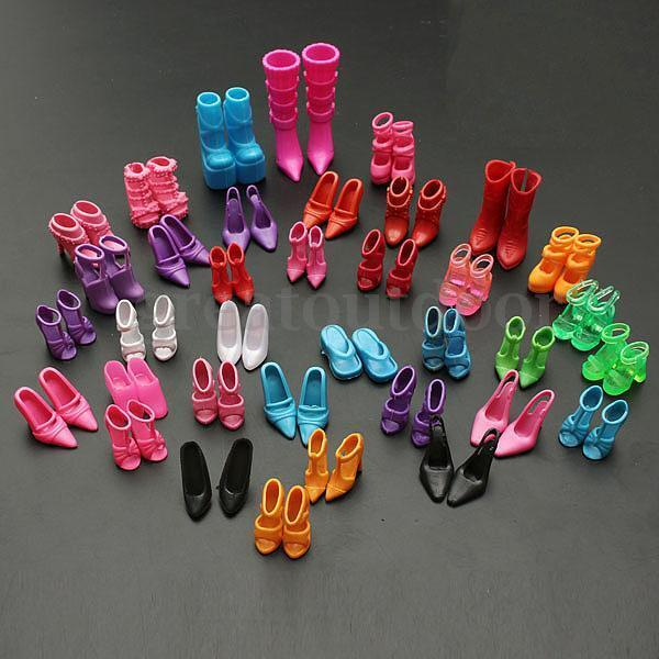 120X Different Doll Outfit Dress Fashion High Heel Shoe Boots Sandals For Barbie