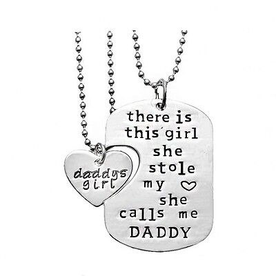 Twin Girls Gift - Daddy and Daugher Twin Dog Tag Necklaces Dad Father Men Girls Gift - USA Seller