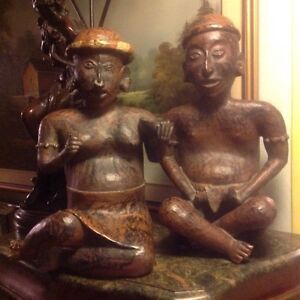 2 TRIBAL MALE & FEMALE SCULPTURES