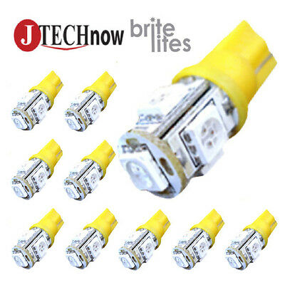 Jtech 10X T10 5 Smd Led Yellow Super Bright Car Lights Bulb W5w  194  168  2825