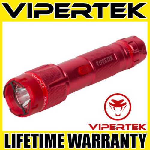 VIPERTEK Stun Gun VTS-T03 RED 500 BV Metal Rechargeable LED Flashlight