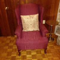 Fireside / Wing Chair burgundy color