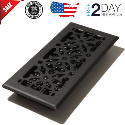 Floor Diffuser 4 x 10 in. Black Metal Register Vent Cover Cast-Iron Heat AC HVAC