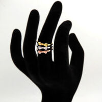 24k Gold Plated Bow Tie Ring Sterling Silver with Zirconia Stone