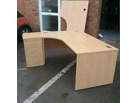 Large beech left/right hand turn desk with pedestal