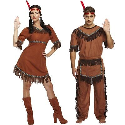 Adult Men & Women His & Hers Native American Red Indian Fancy Dress Costume - Red Costumes For Men