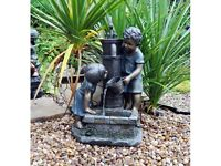Boy & Girl Hand Pump Garden Water Feature (FREE LOCAL DELIVERY)