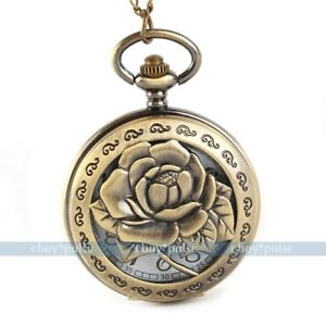 Antique Vintage Bronze Tone Men Women Pocket Chain Quartz Pendant Watch Necklace