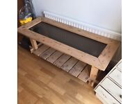 Beautiful hand made pine and glass coffee table for sale