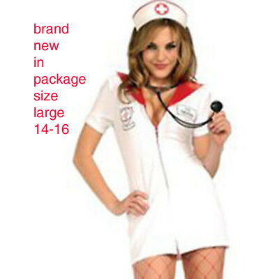 Nurse Feelgood Woman's Adult basic classic white red Halloween costume L 14-16