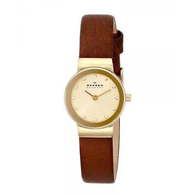 Skagen Authentic Watch SKW2175 Freja Gold Leather 22mm Women's