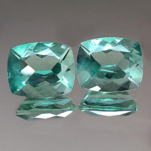 9.42cts 11x9mm Nice Cushion Pair Green Natural Fluorite Loose Genuine Gemstones