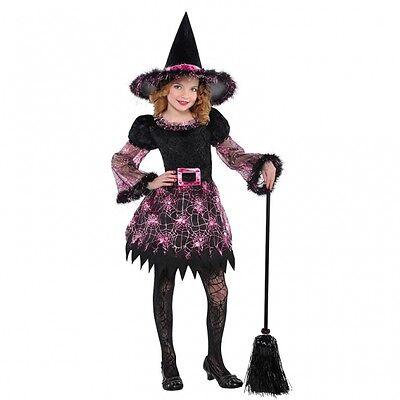 Kinder Hexe Kostüme (Hexen Kostüm + Hut Gr. 110 134  Kinder Hexe Karneval Mädchen Halloween  pink sch)