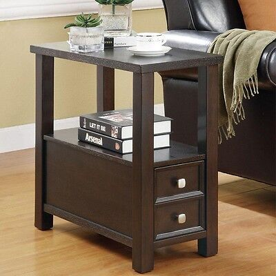 Accent Casual Chairside Side End Snack Storage Table Stand w/ Shelf Cappuccino