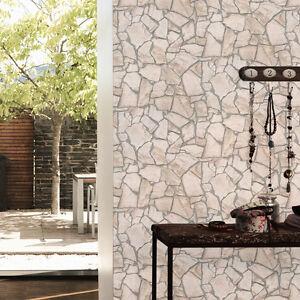 Superbe 39 pierre mosa que 39 mur effet brique papier peint cr me beige gris ebay for Pierre decorative murale pas cher