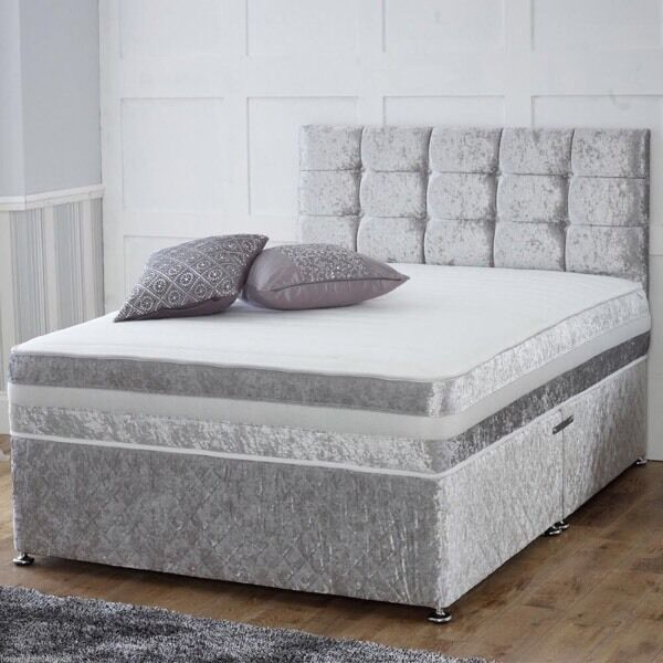 4ft small double divan bed grey silver suede effect for Small double divan bed with headboard