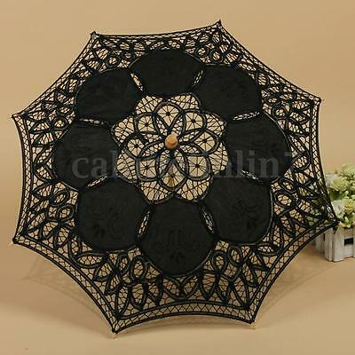 Black Cotton Parasol Lace Sun Umbrella Hand Fan Party Wedding Bridal Decoration