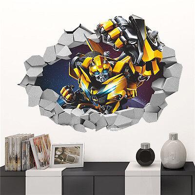 HOT 3D Bumblebee Transformers Decal Removable Break Wall Sticker Kids Room Decor