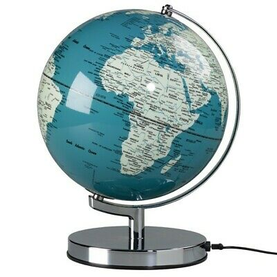 "CONTEMPORARY MODERN 10""  FRENCH BLUE GLOBE ON CHROME BASE ATLAS"