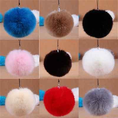 Fur Pom Pom Keyring Real Fluffy Handbag Charms 8cm Puff Ball Keychain Clothes