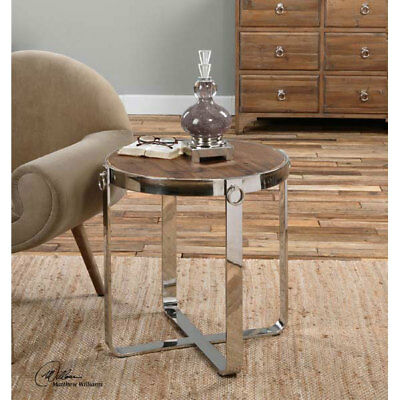Modern Reclaimed Wood & Polished Steel Side Accent Table Round