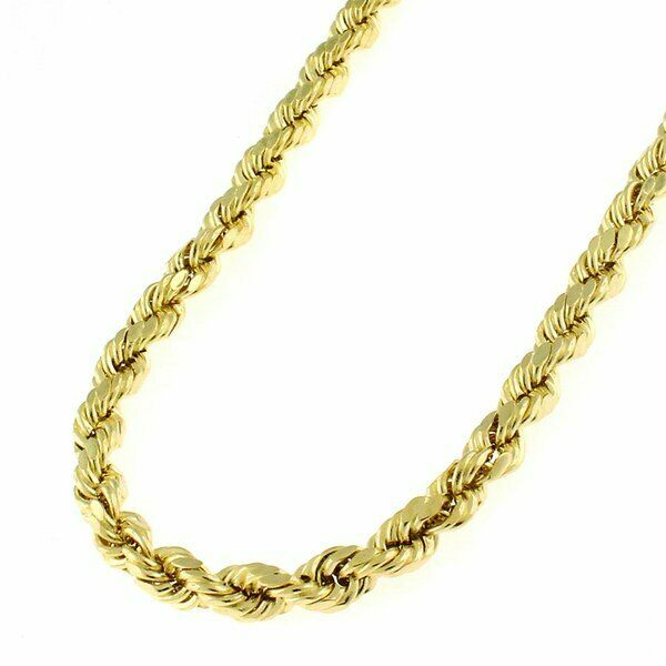 b3e1e2a7ff197 14k Real Yellow Gold 3mm Diamond Cut Rope Chain Necklace Lobster Clasp 16-  32
