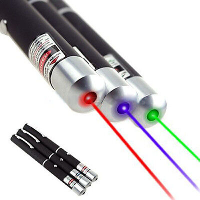 High Power 5mw 3 Color Red + Green + Blue Purple Laser  Pointer Pen Beam Light on Rummage