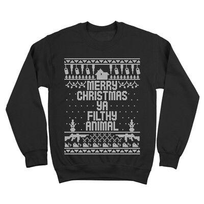 Home Merry Christmas Ya Filthy Animal  Funny Xmas Black Crewneck Sweatshirt](Funny Animal Christmas)