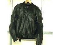"""Rev it Black Leather Motorcycle Jacket & Trousers. Chest size: upto 50"""", Waist size: up to 38""""."""