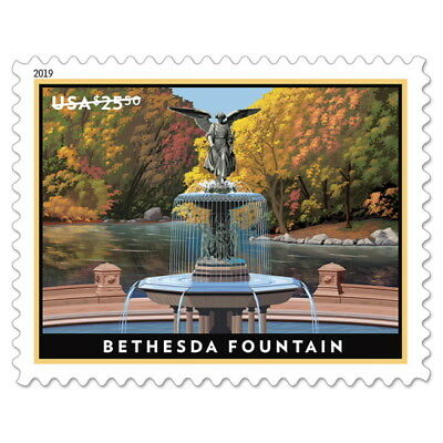 USPS New Bethesda Fountain Priority Mail Express Pane of 4