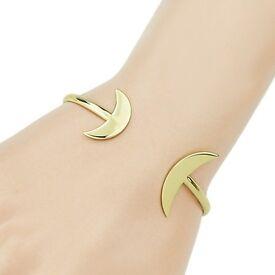 Small Moon Shape Embellished Cuff Bracelet