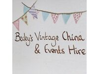 Vintage China hire, organza sash hire (145 available in light gold), wedding/events props