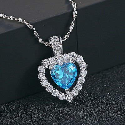 Fashion 925 Sterling Silver Blue Crystal Heart Pendant Necklace Women's Jewelry