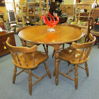 VINTAGE WOOD DINING ROOM SET TABLE 4 CHAIRS 1970s KITCHEN