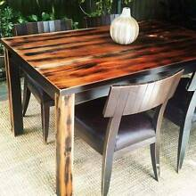 Solid Distressed Hardwood Dining Table & Four Seagrass Chairs Coogee Eastern Suburbs Preview