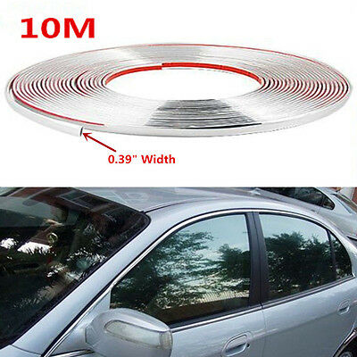 (10m Chrome 3M Adhesive Car Door Edge Moulding Trim Guard Strip Protect Practical)