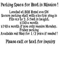 Parking space in Mission for rent