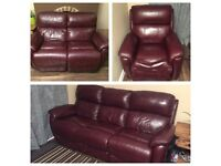 x3 Brown Leather Electric Recliner Sofas